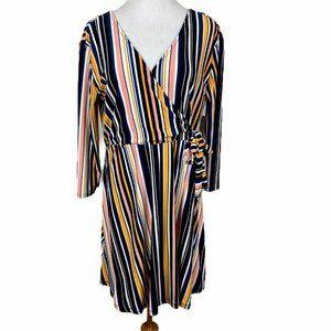 No Boundaries Faux Wrap Dress XL Striped Deep V-Ne